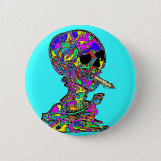 VanGogh's Calavera Skull Smoking Cigarette Button