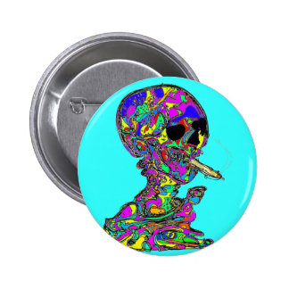 VanGogh's Calavera Skull Smoking Cigarette Button