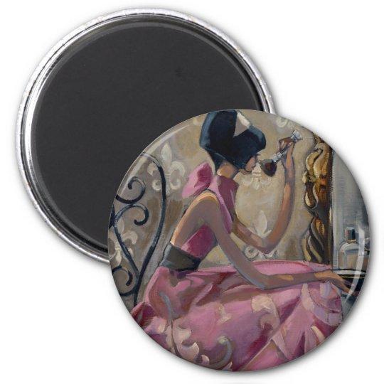 Vanidad del rosa del polvo de Trish Biddle Imán Redondo 5 Cm