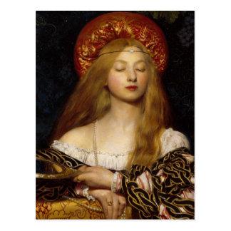 Vanidad - doncella medieval postal