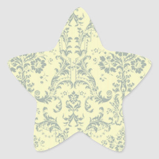 Vanilla and Blue Damask Star Sticker