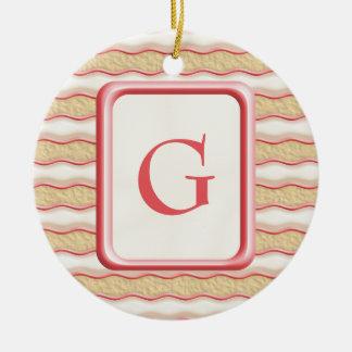 Vanilla and Strawberry Striped Shortbread Cookies Ceramic Ornament