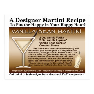 Vanilla Bean Martini Recipe Postcard
