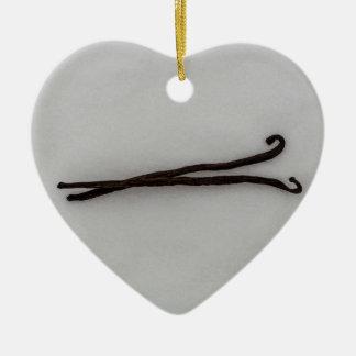 Vanilla bean with sugar ceramic ornament