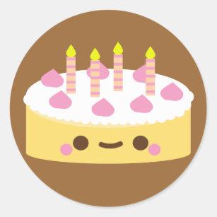 Cute Kawaii Birthday Cake Stickers Zazzle