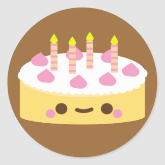 Cute Kawaii Birthday Cake Stickers Zazzle