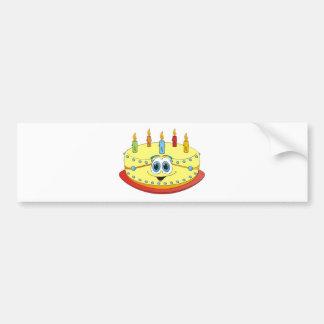 Vanilla Birthday Cake Colorful Candles Cartoon Bumper Sticker