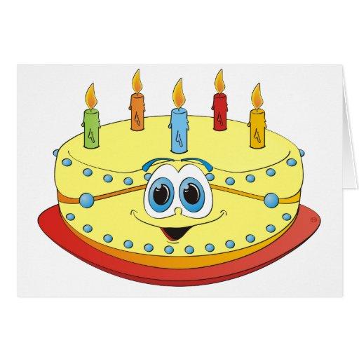 Vanilla Birthday Cake Colorful Candles Cartoon Greeting ...
