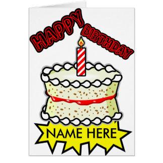 Vanilla Birthday cake - One candle Card