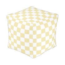 Vanilla Checkered Pouf