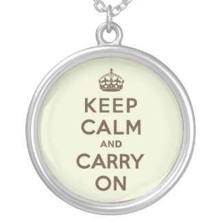 Vanilla Chocolate Keep Calm and Carry On Round Pendant Necklace