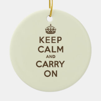 Vanilla Chocolate Keep Calm and Carry On Christmas Ornaments