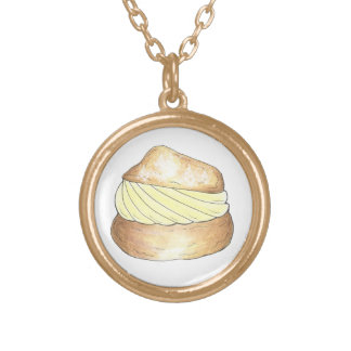 Vanilla Cream Puff French Pastry Dessert Necklace