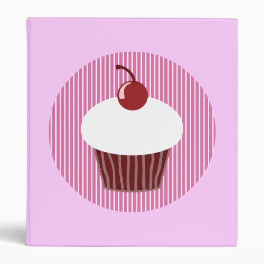 Vanilla Cupcake and Pink Stripes 3 Ring Binder