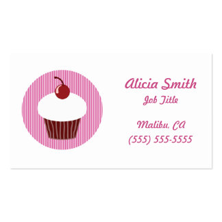 Vanilla Cupcake and Pink Stripes Business Cards