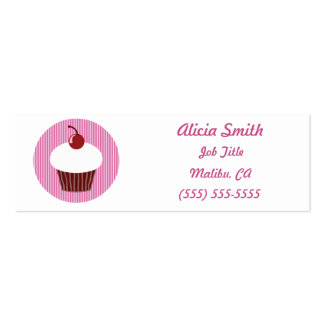 Vanilla Cupcake and Pink Stripes Business Card Template