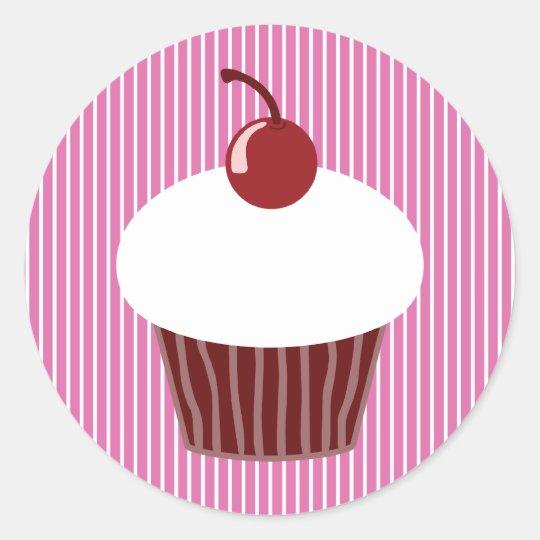 Vanilla Cupcake and Pink Stripes Classic Round Sticker