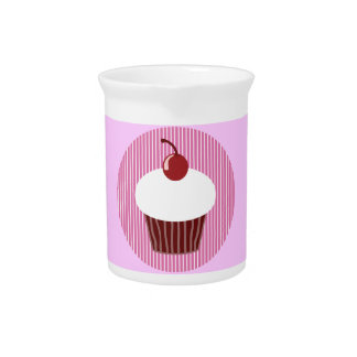 Vanilla Cupcake and Pink Stripes Drink Pitcher