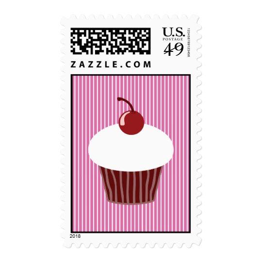 Vanilla Cupcake and Pink Stripes Postage