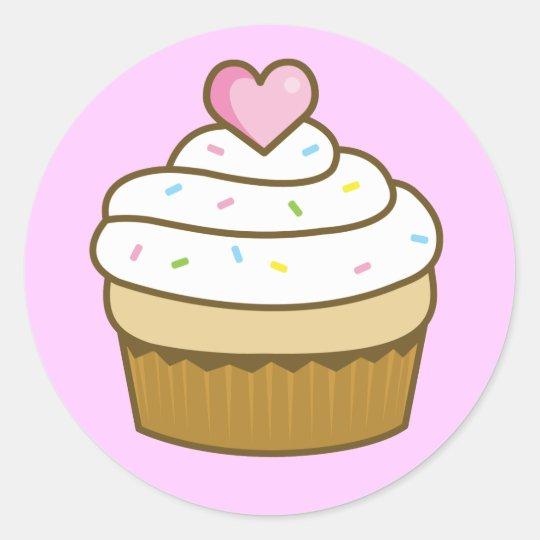 vanilla cupcake classic round sticker