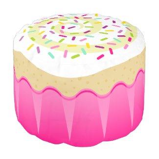 Vanilla Cupcake in Pink Wrapper Decorative Pouf