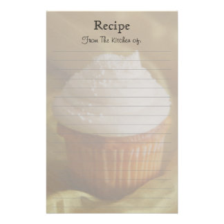 Vanilla Cupcake Lined Recipe Stationery