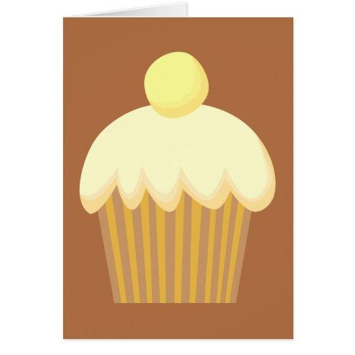 Vanilla Cupcake on Brown. Greeting Card