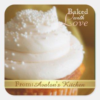 Vanilla Cupcake Square Baking Stickers