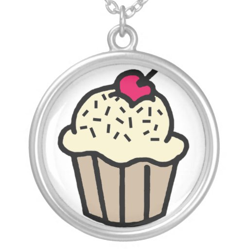Vanilla Cupcake with a Cherry on Top Necklace