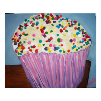 Vanilla Cupcake With Sprinkles Poster