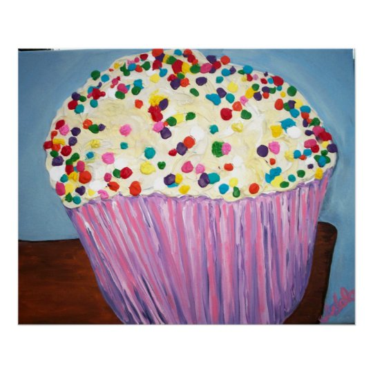 """""""Vanilla Cupcake With Sprinkles"""" Poster"""
