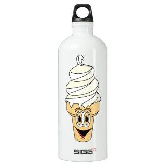Vanilla Ice Cream Cone Cartoon Aluminum Water Bottle