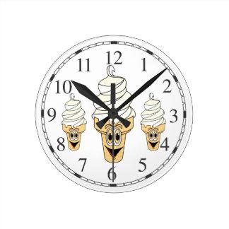 Vanilla Ice Cream Cone Cartoon Round Clock