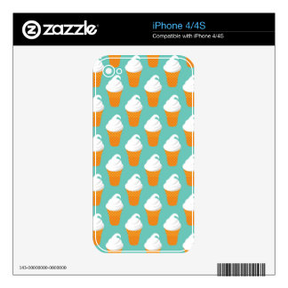 Vanilla Ice Cream Cone Pattern Skins For The iPhone 4