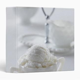 Vanilla ice cream in a white environment binder