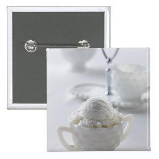 Vanilla ice cream in a white environment pinback button