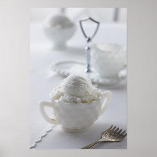 Vanilla ice cream in a white environment poster