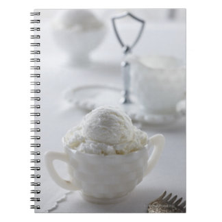 Vanilla ice cream in a white environment spiral notebook
