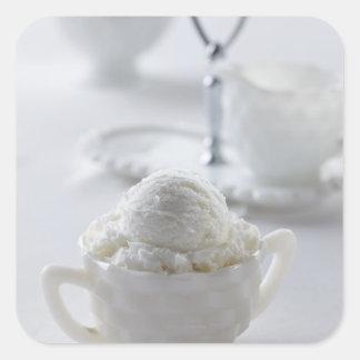 Vanilla ice cream in a white environment square sticker
