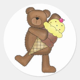 Vanilla Ice Cream Teddy Classic Round Sticker