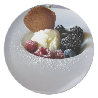 Vanilla ice cream with berries plate
