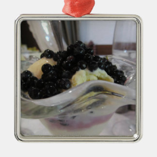 Vanilla ice cream with uncultivated bilberries metal ornament