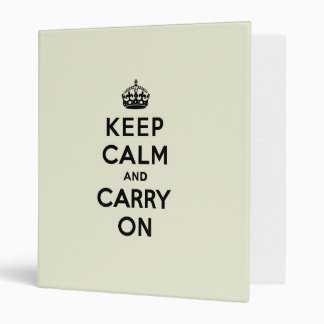 Vanilla Keep Calm and Carry On 3 Ring Binder