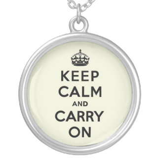Vanilla Keep Calm and Carry On Silver Plated Necklace