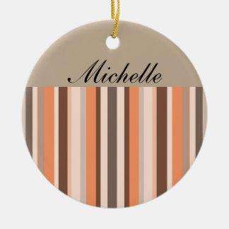 Vanilla Melon  Stripes Ceramic Ornament