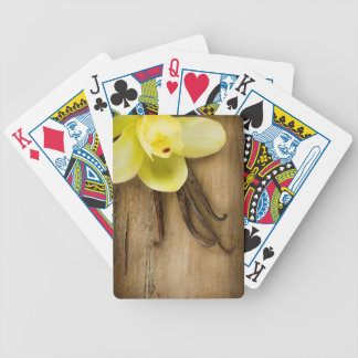 Vanilla Pods and Flower over Wooden Background Deck Of Cards
