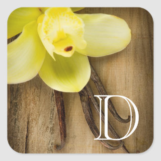 Vanilla Pods and Flower over Wooden Background Square Sticker