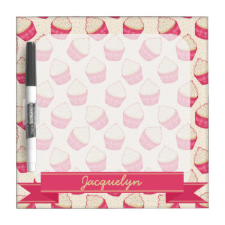 Vanilla Sprinkle Cupcake Pattern and Ribbon Dry-Erase Boards
