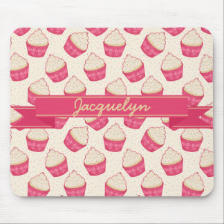 Vanilla Sprinkle Cupcake Pattern and Ribbon Mouse Pad