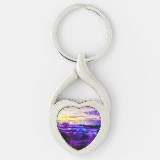 Vanilla Twilight Silver-Colored Heart-Shaped Metal Keychain